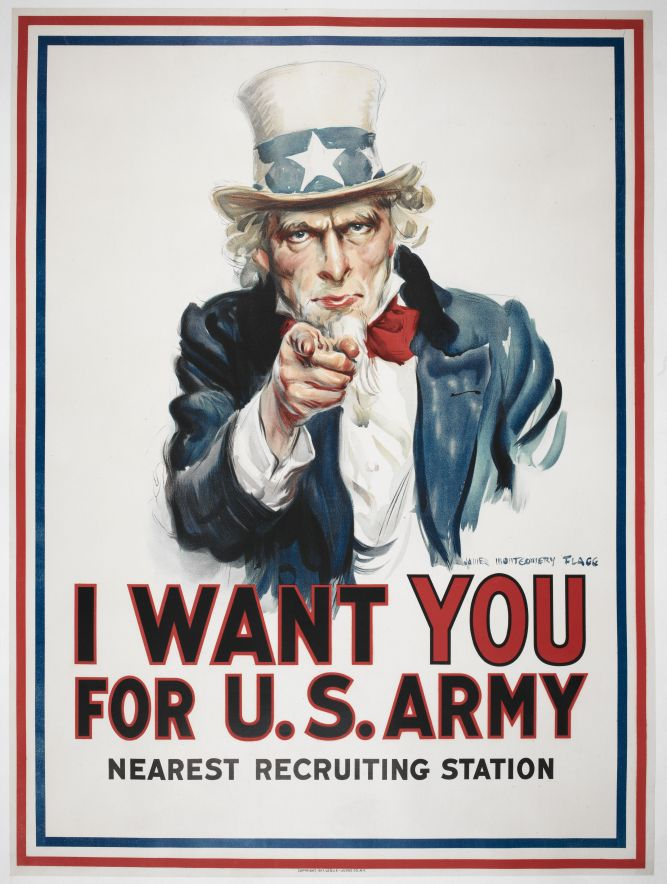 James Montgomery Flagg (artist), I want You for U.S. army. c.1917. Loan courtesy of Anthony d'Offay, Londonr