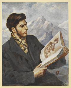 Young Stalin reading, Viktor Golitseva, Poeziia Gruzii. Moscow, 1949