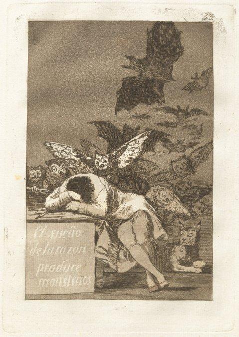 Francisco de Goya, El sueno de la razon produce monstruos (The Sleep of Reason Produces Monsters), Spanish, 1746 - 1828, published 1799, etching and aquatint, Rosenwald Collection