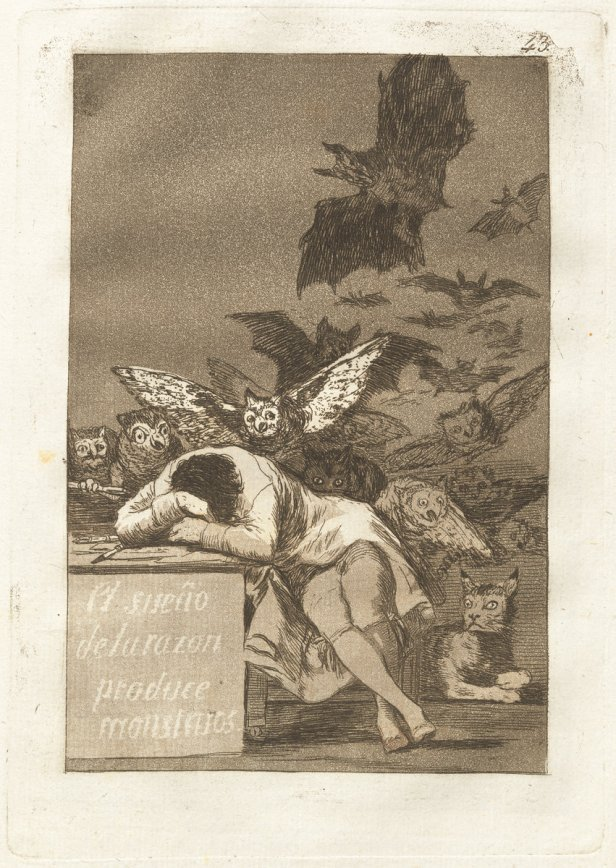 Francisco de Goya, El sueno de la razon produce monstruos (The Sleep of Reason Produces Monsters), Spanish, 1746 - 1828, published 1799, etching and aquatint, Rosenwald Collection