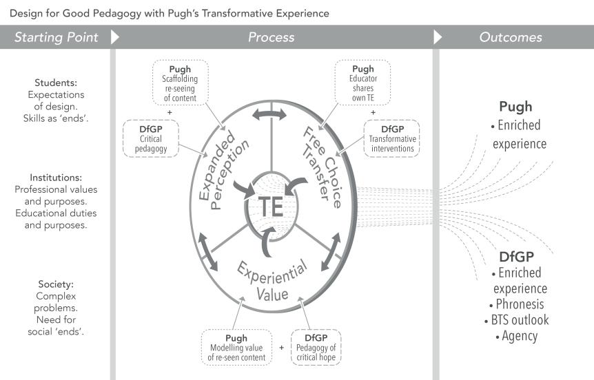 Sancha de Burca framework for a design for good pedagogy using transformative experience