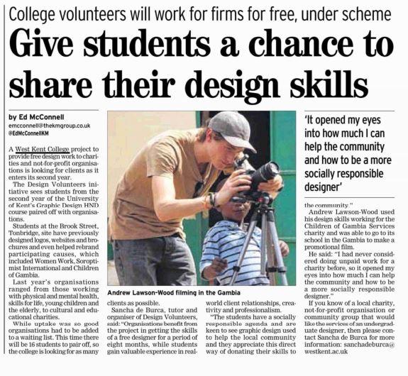 Design Volunteers newspaper article with student photographer