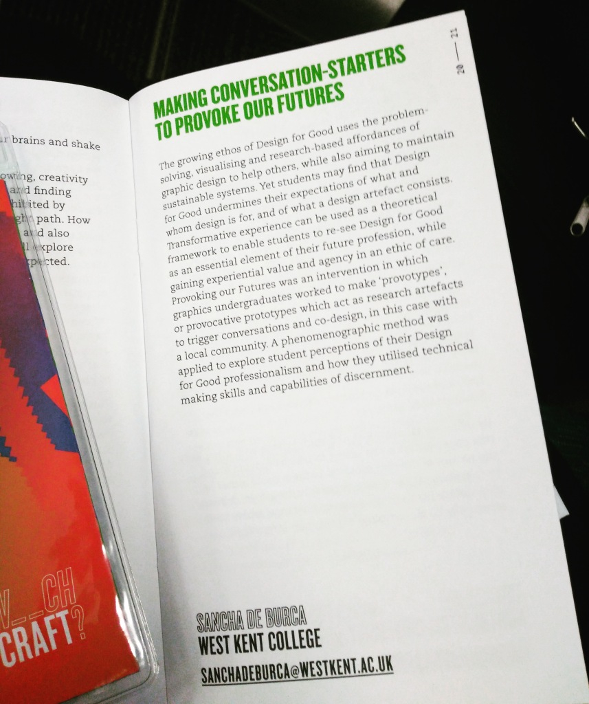 Sancha's design for good talk listed in conference booklet
